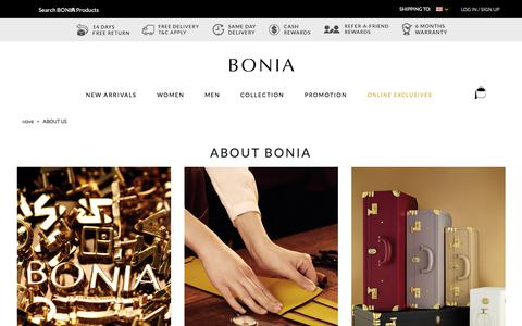 Screenshot of About Page bonia.com - About Us  | Shop Online BONIA - captured Oct. 9, 2017