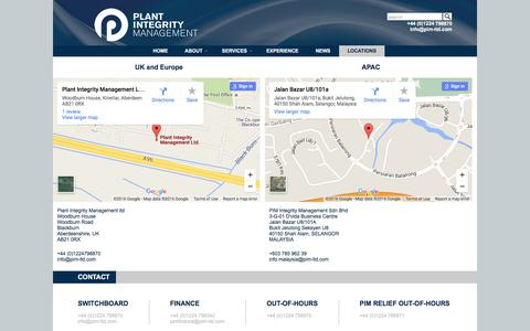 Screenshot of Locations Page pim-ltd.com - Locations and Contacts   Plant Integrity Management - captured Jan. 29, 2016
