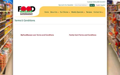 Screenshot of Terms Page myfoodbazaar.com - Terms and Conditions - captured Oct. 5, 2014