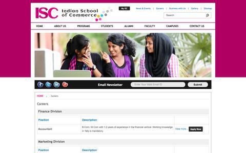 Screenshot of Jobs Page isc.edu.in - ISC - Indian School of Commerce - captured Oct. 4, 2014