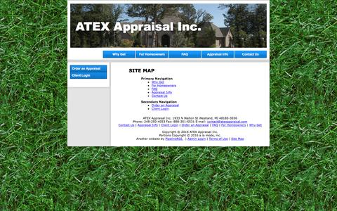 Screenshot of Site Map Page appraisexpert.com - Site Map - ATEX Appraisal Inc. - captured Nov. 19, 2016
