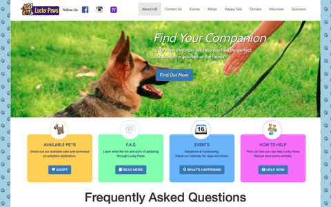 Screenshot of FAQ Page luckypawssite.org - Lucky Paws Rescue - FAQ - captured July 25, 2017