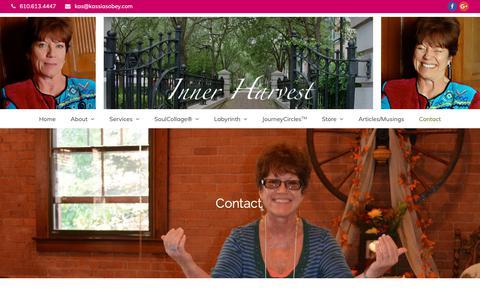 Screenshot of Contact Page kassiasobey.com - Contact | Inner Harvest - captured Oct. 12, 2018