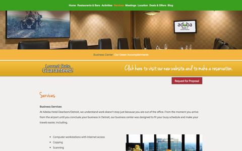 Screenshot of Services Page adobadearborn.com - Business Center at Adoba Dearborn — Adoba Hotel Dearborn - captured March 18, 2016