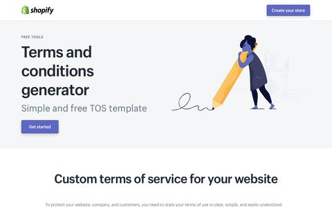 Screenshot of Terms Page shopify.com - Terms and Conditions Generator - Free Template for Your Website - captured Dec. 5, 2017