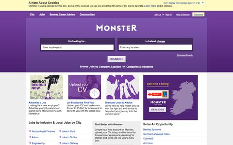 Screenshot of Home Page monster.ie - Find Jobs. Build a Better Career.  Find Your Calling. | Monster.ie - captured Jan. 23, 2015