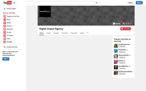 Screenshot of YouTube Page youtube.com - Digital Impact Agency  - YouTube - captured Oct. 23, 2014