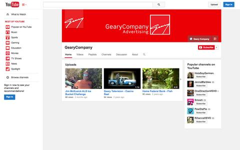 Screenshot of YouTube Page youtube.com - GearyCompany  - YouTube - captured Oct. 22, 2014