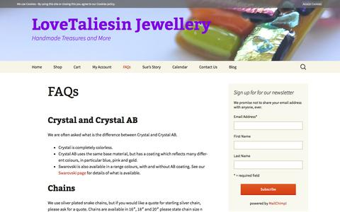 Screenshot of FAQ Page lovetaliesinjewellery.co.uk - FAQs | LoveTaliesin Jewellery - captured Sept. 30, 2014