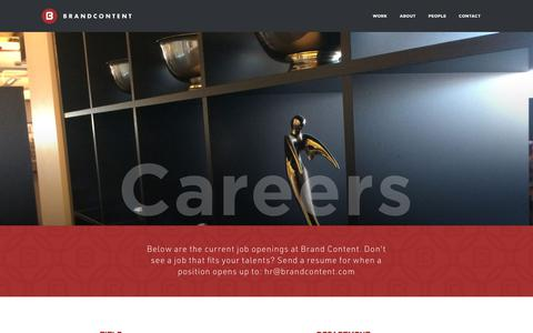 Screenshot of Jobs Page brandcontent.com - Brand Content - Careers - captured Aug. 3, 2018