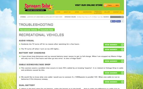 Screenshot of FAQ Page springers.com.au - Troubleshooting for Recreational Vehicles - captured Oct. 7, 2014
