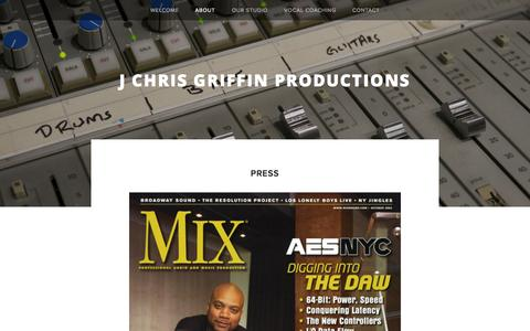 Screenshot of Press Page jchrisgriffin.com - Press — J CHRIS GRIFFIN PRODUCTIONS - captured Oct. 3, 2014