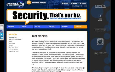 Screenshot of Testimonials Page dakotapro.biz - Testimonials   DakotaPro.biz - captured Oct. 5, 2014