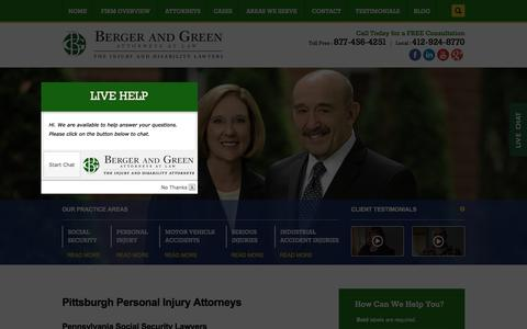 Screenshot of Home Page bergerandgreen.com - Pittsburgh Personal Injury Lawyer | Social Security and Accident Law Firm - captured Jan. 1, 2016