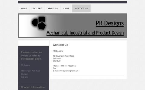 Screenshot of Contact Page prdesigns.co.uk - PR Designs - Contact Us - captured Oct. 9, 2016
