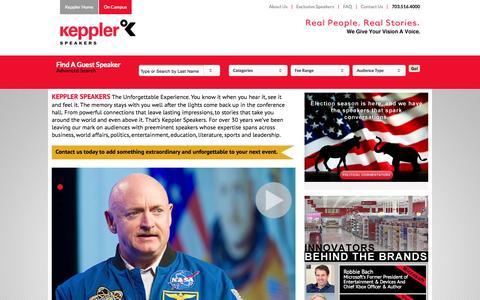 Screenshot of Home Page kepplerspeakers.com - Hire Guest Speakers | Motivational, Inspirational Keynote Speakers | Keppler Speakers - captured Nov. 10, 2015