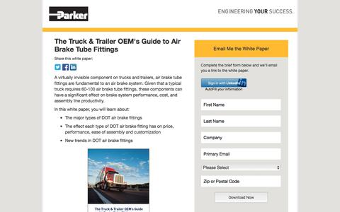Screenshot of Landing Page parker.com - The Truck and Trailer OEM's Guide to Air Brake Tube Fittings | Parker Fluid System Connectors - captured July 20, 2018