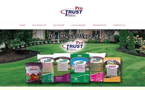 Screenshot of Home Page protrustproducts.com - Lawn Fertilizer, Weed Controls, Plant & Garden Food | Pro Trust Products Website - captured May 12, 2017