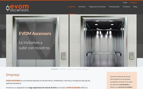 Screenshot of Home Page evom.es - Ascensors Evom   30 años de experiencia - captured Oct. 3, 2014