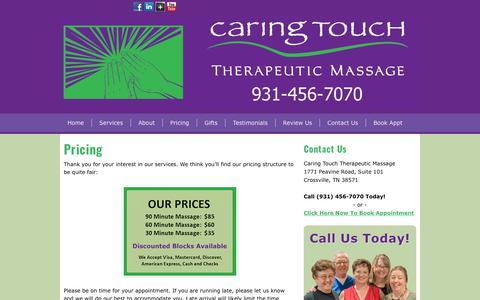Screenshot of Pricing Page crossvillemassage.com - Pricing | Crossville Massage - captured July 15, 2017
