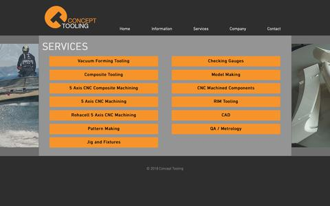 Screenshot of Services Page concepttooling.co.uk - Concept | Services - captured Sept. 29, 2018