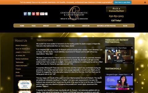 Screenshot of Testimonials Page cclscosmetic.com - Testimonials - Plastic Surgery in Naperville - captured Oct. 2, 2014