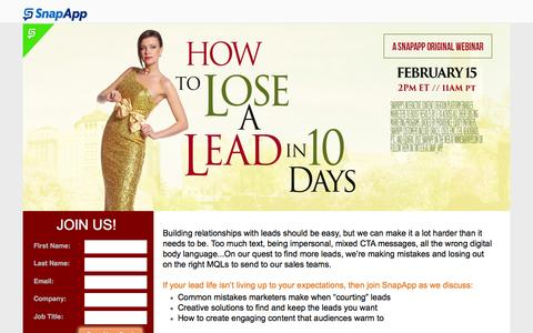 Screenshot of Signup Page snapapp.com - Webinar: How To Lose A Lead In 10 Days - captured Jan. 29, 2017