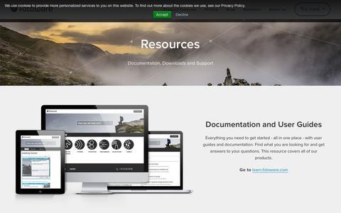 Screenshot of Support Page fotoware.com - Resources - FotoWare - captured Sept. 23, 2018