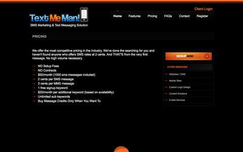 Screenshot of Pricing Page textmeman.com - TextMeMan - captured March 3, 2016