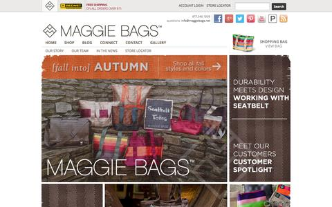 Screenshot of Home Page maggiebags.net - Durability Meets Design. Seatbelt Handbags - Maggie Bags - captured Sept. 23, 2014