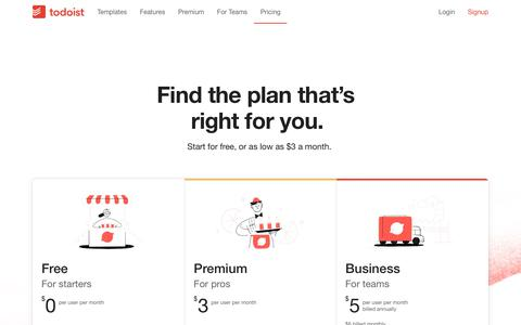 Screenshot of Pricing Page todoist.com - Pricing | Todoist - captured Oct. 31, 2019