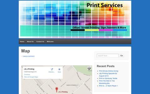 Screenshot of Maps & Directions Page wordpress.com - Map | J&J Printing - captured Sept. 12, 2014