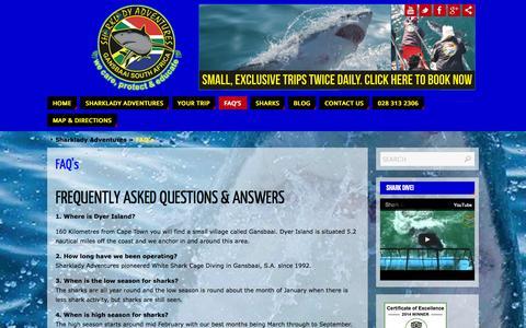 Screenshot of FAQ Page sharklady.co.za - FAQ's - captured Oct. 7, 2014
