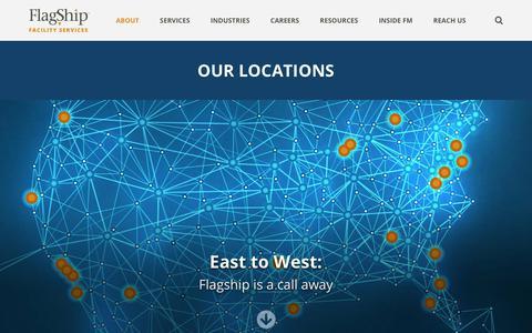 Screenshot of Locations Page flagshipinc.com - Our Flagship Locations | Flagship Facility Services - captured Feb. 17, 2019