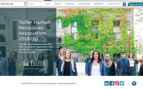 Screenshot of Home Page arhhra.com - Telfer Human Resources Association - captured Oct. 18, 2018