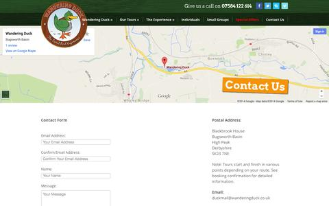 Screenshot of Contact Page wanderingduck.co.uk - Contact Us | Wandering Duck - captured Oct. 27, 2014