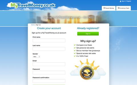 Screenshot of Signup Page mytravelmoney.co.uk - Sign up on MyTravelMoney.co.uk - captured Jan. 23, 2016