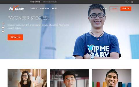 Screenshot of Case Studies Page payoneer.com - Customer Stories - PAYONEER - captured Nov. 17, 2017