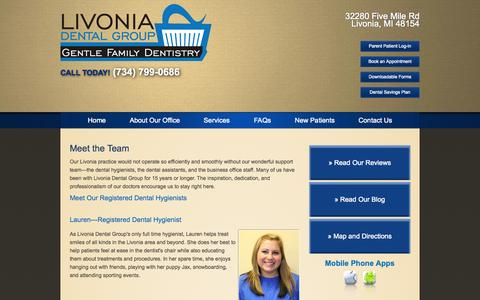 Screenshot of Team Page livoniadentalgroup.com - Meet the Team - captured Sept. 30, 2014