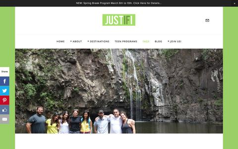 Screenshot of FAQ Page justifi.org - FAQs — Justifi. Life Changing Trips for Young Jewish Idealists - captured Feb. 12, 2016