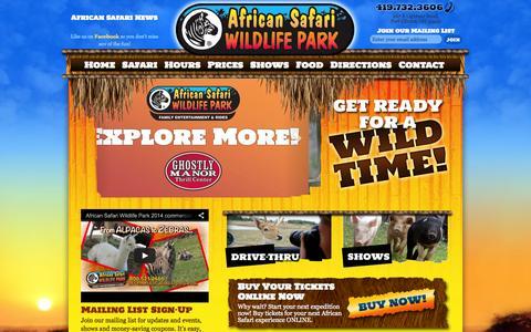 Screenshot of Home Page africansafariwildlifepark.com - African Safari Wildlife Park - Port Clinton, OH | Drive Through Safari | Walk Through Safari | Ohio Animal Park - captured Sept. 30, 2014