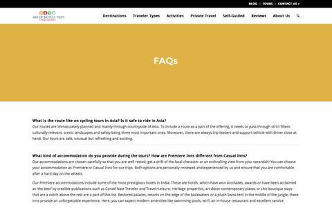 Screenshot of FAQ Page artofbicycletrips.com - FAQs   Art of Bicycle Trips - captured July 26, 2016