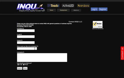 Screenshot of Contact Page inqullc.com - Contact US - captured Dec. 20, 2015