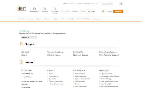 Screenshot of Site Map Page iinet.net.au - Sitemap - iiNet - captured Sept. 18, 2014