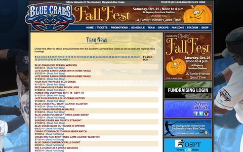 Screenshot of Press Page somdbluecrabs.com - Southern Maryland Blue Crabs - Waldorf, MD Baseball - captured Oct. 6, 2014