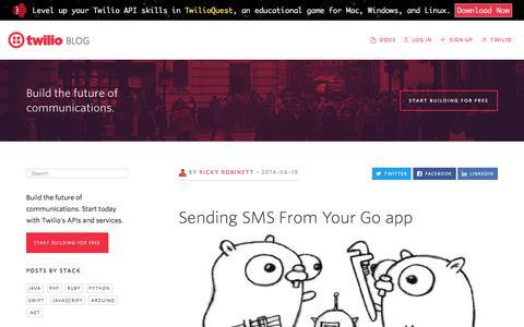 Screenshot of Blog twilio.com - Sending SMS From Your Go app - Twilio - captured Nov. 28, 2019