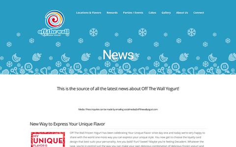 Screenshot of Press Page offthewallyogurt.com - News | Off The Wall Yogurt - captured Feb. 13, 2016