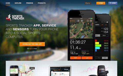 Screenshot of Home Page sports-tracker.com - Sports Tracker - captured Sept. 19, 2014