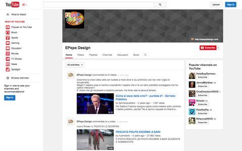 Screenshot of YouTube Page youtube.com - EPepe Design  - YouTube - captured Oct. 22, 2014