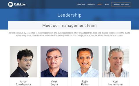 Screenshot of About Page Team Page reflektion.com - Leadership | Reflektion - captured June 11, 2017